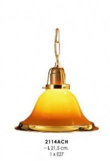 Klassische Pendelleuchte im Landhausstil Gelb/Gold, Kristall mit Kette, Durchmesser 21, 5 cm, Leuchte Lampe 2114ACH