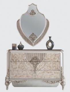 Casa Padrino Luxus Barock Kommode mit Wandspiegel Silber - Handgefertigter Massivholz Schrank mit elegantem Spiegel - Prunkvolle Möbel im Barockstil