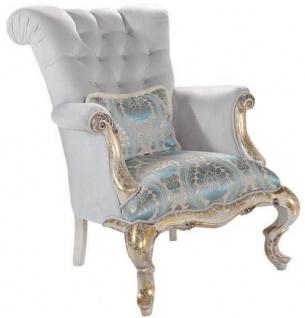 Casa Padrino Luxus Barock Samt Sessel mit Kissen Grau / Türkis / Antik Gold 82 x 100 x H. 105 cm - Wohnzimmer Möbel im Barockstil