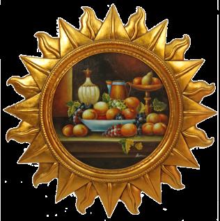 Casa Padrino Barock Wandbild Sonne mit Obst Mehrfarbig / Gold Ø 88 cm - Wanddeko - Barock Deko Accessoires