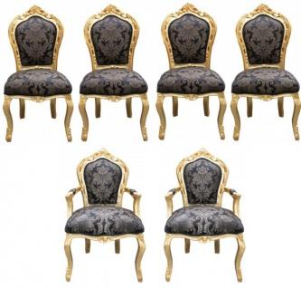 Casa Padrino Barock Esszimmer Set 4 Stühle ohne Armlehnen + 2 Stühle mit Armlehnen - Möbel Antik Stil