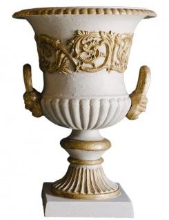 Casa Padrino Barock Gusseisen Vase mit Sockel Grau / Gold Ø 35 x H. 49 cm - Prunkvolle Gartendeko im Barockstil