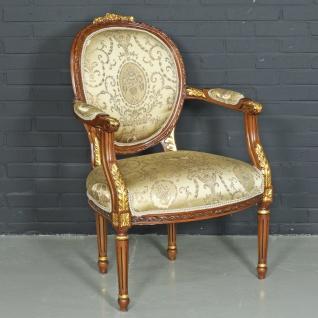 Casa Padrino Barock Salon Stuhl Ludwig XV mit Armlehnen 65 x 65 x H. 100 cm - Antikstil Stuhl