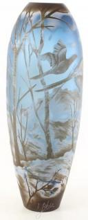 Casa Padrino Deko Glas Vase Winterlandschaft Mehrfarbig Ø 17, 1 x H. 45, 8 cm - Runde Cameoglas Blumenvase