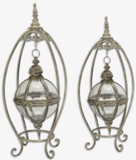 Casa Padrino Jugendstil Tischlaternen Set Antik Silber 40, 5 x 40, 5 x H. 82, 3 cm - Antik Stil Kerzenleuchter - Barock & Jugendstil Deko Accessoires