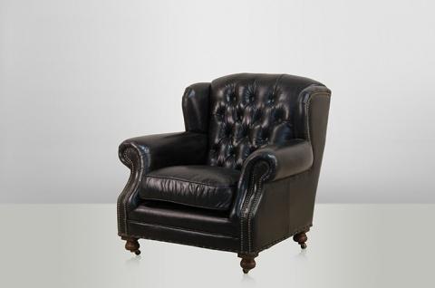 Chesterfield Luxus Echt Leder Ohrensessel Adringley Vintage Leder von Casa Padrino Ebony - Club Sessel