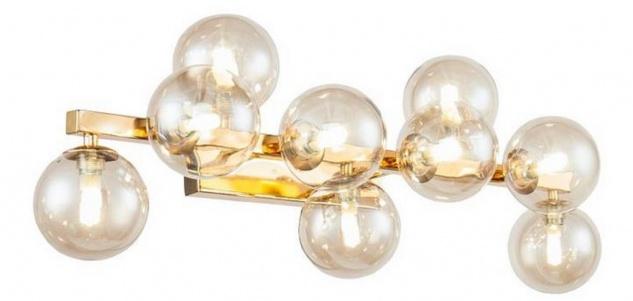 Casa Padrino Designer Wandleuchte Gold / Bernsteinfarben 66 x 23 x H. 24 cm - Moderne Wohnzimmer Lampe