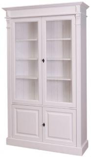Casa Padrino Landhausstil Bücherschrank Weiß 119 x 39 x H. 197 cm - Wohnzimmerschrank mit 4 Türen - Massivholz Schrank - Vitrinenschrank - Landhausstil Wohnzimmermöbel