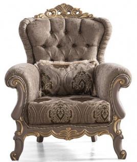 Casa Padrino Luxus Barock Sessel Braun / Grau / Gold 77 x 90 x H. 109 cm - Wohnzimmer Sessel mit dekorativem Kissen - Edle Barock Möbel