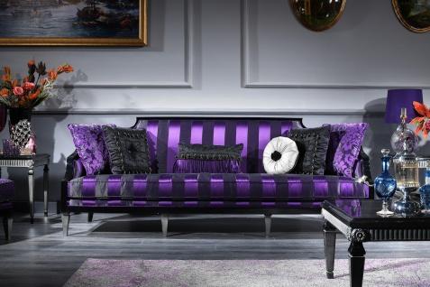 Casa Padrino Luxus Barock Sofa Lila / Schwarz / Silber 244 x 95 x H. 88 cm - Wohnzimmermöbel im Barockstil