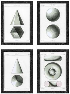 Casa Padrino Luxus Bilder Set Sphärische Projektionen Schwarz / Weiß / Grau 59 x H. 83 cm - Kunstdrucke - Wandbilder - Wanddeko - Deko Accessoires