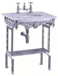 Casa Padrino Luxus Jugendstil Stand Waschtisch Weiß / Aluminium mit Marmorplatte und Ablage Barock Waschbecken Barockstil Antik Stil