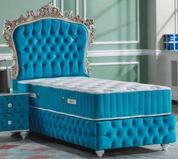 Casa Padrino Barock Einzelbett Türkis / Weiß / Antik Gold - Prunkvolles Samt Bett mit Glitzersteinen und Matratze