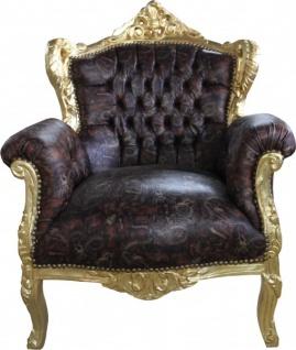 Casa Padrino Barock Sessel Lord Braun/Gold Lederoptik - Antik Stil