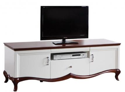 Casa Padrino Luxus Art Deco Sideboard mit 2 Türen und Schublade Weiß / Dunkelbraun 164, 2 x 46, 5 x H. 55, 7 cm - Fernsehschrank - Wohnzimmermöbel