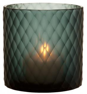 Casa Padrino Glas Teelichthalter / Windlicht Saphirfarben Ø 20 x H. 20 cm - Luxus Teelichthalter mit Diamantenschliff