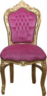 Casa Padrino Barock Esszimmer Stuhl Rosa / Gold