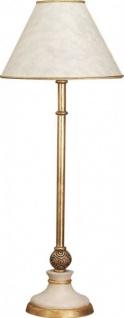 Casa Padrino Luxus Barock Tischleuchte Antik Weiss / Gold - vergoldete Säulen Lampe mit Kugel - Handgefertigt in Italien