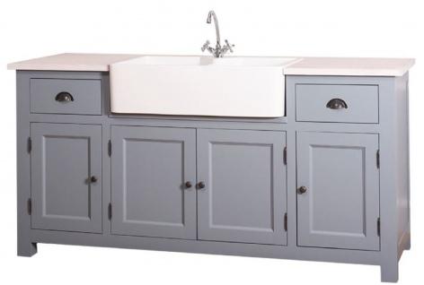Casa Padrino Landhausstil Waschbeckenschrank Blau / Weiß 180 x 65 x H. 90 cm - Waschtisch mit 4 Türen und 2 Schubladen - Vorschau 3