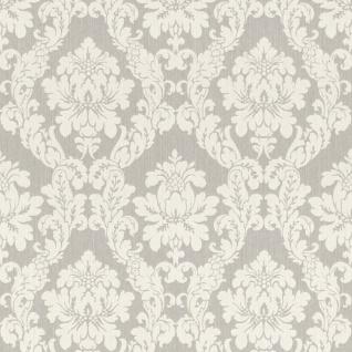 Casa Padrino Barock Textiltapete Weiß / Beige / Creme / Grau / Silber - 10, 05 x 0, 53 m - Stofftapete im Barockstil