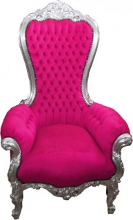 Casa Padrino Barock Thron Sessel Majestic Medium Pink/Silber - Riesensessel - Thron Stuhl Tron