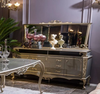 Casa Padrino Luxus Barock Möbel Set Sideboard mit Spiegel Grau / Silber - Prunkvoller Massivholz Schrank mit elegantem Wandspiegel - Möbel im Barockstil