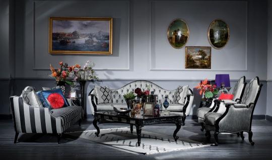Casa Padrino Luxus Barock Wohnzimmer Set Silber / Schwarz - 2 Sofas & 2 Sessel & 1 Couchtisch & 2 Beistelltische - Wohnzimmer Möbel im Barockstil - Edel & Prunkvoll