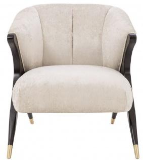 Casa Padrino Designer Sessel Cremefarben / Schwarz / Messingfarben 71, 5 x 79, 5 x H. 77 cm - Luxus Möbel - Vorschau 2