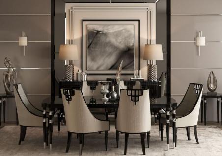 Casa Padrino Luxus Art Deco Esszimmer Set Grau / Schwarz / Silber - 1 Esstisch & 6 Esszimmerstühle - Art Deco Esszimmermöbel - Luxus Qualität