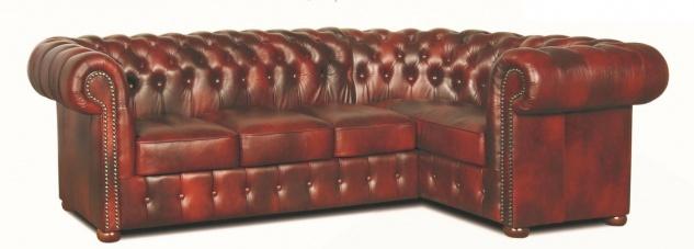 Casa Padrino Chesterfield Echtleder Ecksofa Weinrot 260 x 160 x H. 78 cm - Luxus Wohnzimmermöbel