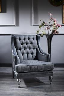 Casa Padrino Luxus Barock Chesterfield Wohnzimmer Sessel Blau / Grau / Silber 77 x 76 x H. 100 cm - Barockmöbel