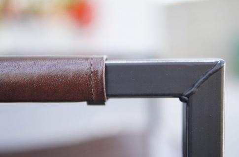 Casa Padrino Vintage Industrial Echtleder Armlehnstuhl Industrie Stuhl - ALLE FARBEN - Luxus Sessel Industrie Armlehner Design Möbel Büffelleder - Vorschau 3