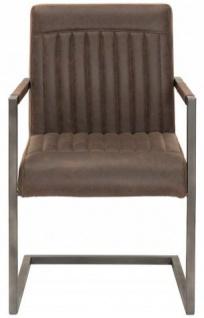 Casa Padrino Designer Freischwinger Stuhl aus Echtleder Vintage Braun - Esszimmerstuhl - moderner Wohnzimmerstuhl