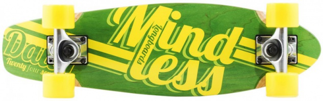 Mindless Stained Daily Oldschool Skateboard Wood Cruiser Komplettboard Green / Yellow - Old School Complete Skateboard mit Koston Kugellagern