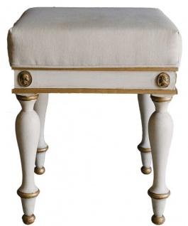 Casa Padrino Luxus Barock Hocker Weiß / Antik Gold 41 x 41 x H. 54 cm - Massivholz Sitzhocker im Barockstil - Barockmöbel