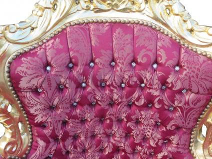 "Casa Padrino Barock Sessel "" King"" Bordeaux Bouquet Muster / Gold mit Bling Bling Glitzersteinen - Möbel Antik Stil - Vorschau 2"