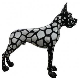 Casa Padrino Designer Dekofigur Hund Deutsche Dogge Schwarz / Silber 125 x H. 110 cm - Lebensgroße Deko Skulptur - Wetterbeständige Tierfigur