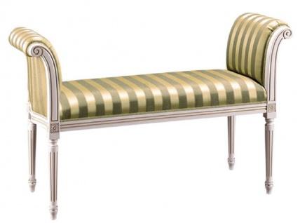 Casa Padrino Luxus Barock Sitzbank Weiß / Grün / Gold 115 x 47 x H. 75 cm - Barockmöbel