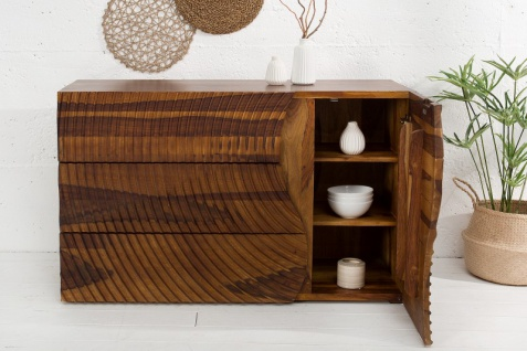 Casa Padrino Designer Kommode Natur 120 x 47 x H.75cm Fernsehschrank - Sideboard- Handgefertigt aus massivem Mangoholz! - Vorschau 3