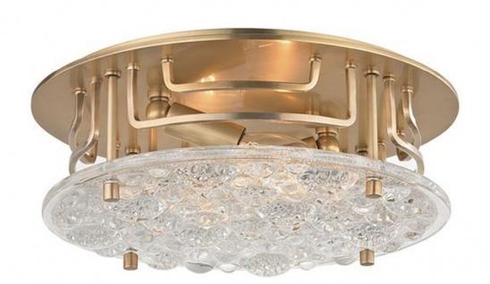 Casa Padrino Luxus Deckenleuchte Antik Messingfarben Ø 28, 6 x H. 9, 5 cm - Runde Deckenlampe mit handgefertigtem Glas - Luxus Qualität