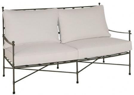 Casa Padrino Luxus Jugendstil Sofa Braun / Weiß 162 x 87 x H. 102 cm - Handgeschmiedetes Schmiedeeisen Sofa mit Kissen - Wohnzimmer Sofa - Garten Sofa - Terrassen Sofa - Luxus Qualität