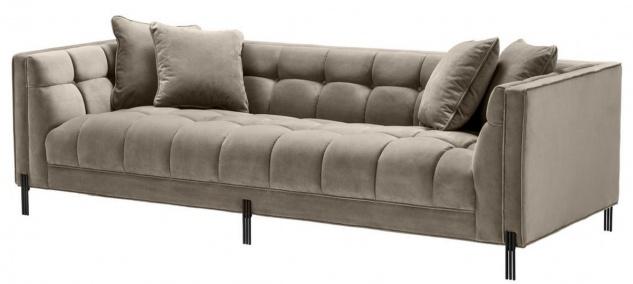 Casa Padrino Luxus Samt Sofa mit 4 Kissen Greige / Schwarz 231 x 95 x H. 68 cm - Wohnzimmer Sofa - Luxus Qualität