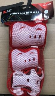 Kinder Knie, Ellenbogen und Handgelenk Schoner Set S Rot / Weiß - 1B Ware mit Lagerspuren