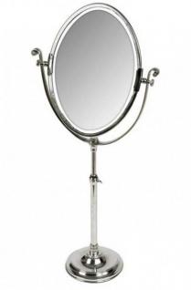 Casa Padrino Luxus Tisch Spiegel Schminkspiegel - Schminktisch Spiegel vernickelt Silber 40 x H. 85 - 110 cm