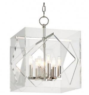 Casa Padrino Luxus Hängeleuchte Silber 40, 7 x 40, 7 x H. 54, 6 cm - Pendelleuchte in Würfelform