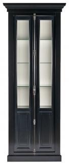 Casa Padrino Landhausstil Vitrine Schwarz / Weiß 95 x 45 x H. 242 cm - Vitrinenschrank mit 2 Türen - Massivholz Schrank - Landhausstil Möbel