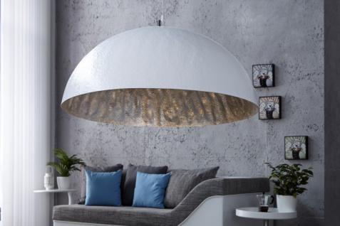 Casa Padrino Designer Pendelleuchte aus Edelstahl, Weiß / Silber, Durchmesser 70 cm - Leuchte Lampe