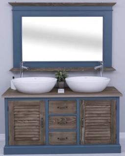 Casa Padrino Landhausstil Badezimmer Set Blau / Dunkelbraun - 1 Doppelwaschtisch & 2 Waschbecken & 2 Wasserhähne & 1 Wandspiegel - Massivholz Badezimmermöbel im Landhausstil