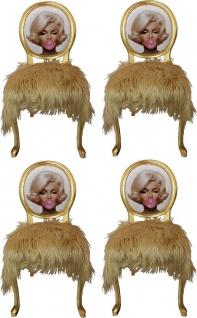 Casa Padrino Luxus Barock Esszimmer Set Marilyn Monroe Bubble Gum Crazy Blond / Mehrfarbig / Gold 50 x 60 x H. 104 cm - 4 handgefertigte Esszimmerstühle mit Kunstfell und Bling Bling Glitzersteinen