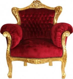 Casa Padrino Barock Sessel Bordeaux / Gold - Barock Wohnzimmer Möbel